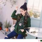 Applique Embroidered Hooded Top