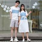 Couple Matching Short-sleeve T-shirt / Shorts / Midi A-line Dress / Set