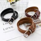 Rectangular Buckle Faux Leather Belt
