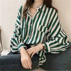 Balloon Sleeve Striped Shirt