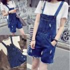 Distressed Denim Dungaree Shorts