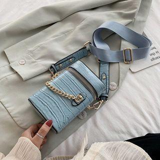 Mini Croc Grain Chain Bucket Bag