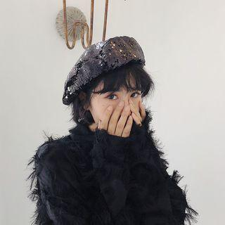 Sequined Beret Hat As Shown In Figure - M