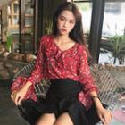 Ruffle Floral Bell-sleeve Shirt