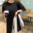 Deep-slit Asymmetric-hem Long T-shirt