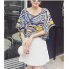 Print Short Sleeve Tasseled Chiffon Top