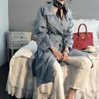 Drop-shoulder Trench Coat With Sash
