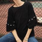Faux Pearl 3/4 Sleeve T-shirt