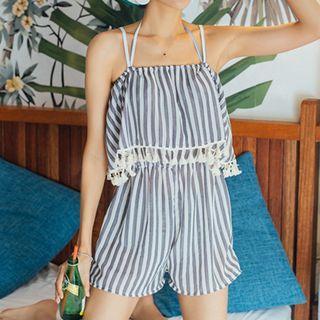 Set: Striped Bikini + Beach Playsuit