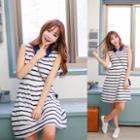 Striped Collared Sleeveless A-line Dress