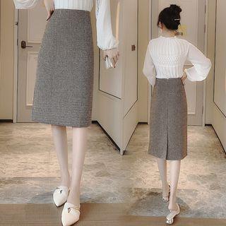 Silt-back Straight Midi Skirt