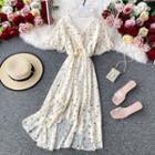 Drawstring V-neck Floral Print Chiffon Dress