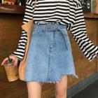 Washed Fray Hem Denim Skirt