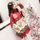 Turtleneck Christmas Patterned Sweater