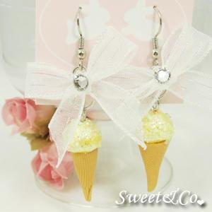 Sweet Yellow Glitter Ice-cream Swarovski Crystal Ribbon Earrings