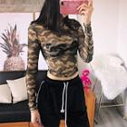 Long Sleeve See-through Camouflage Cropped Top