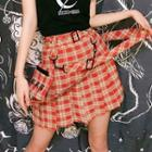 Plaid Pleated Suspender Skorts