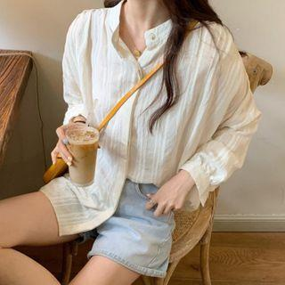 Long-sleeve Striped Blouse / Wide-leg Shorts