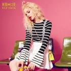 Bell-sleeve Striped Knit Top