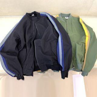 Color Stripe Bomber Jacket