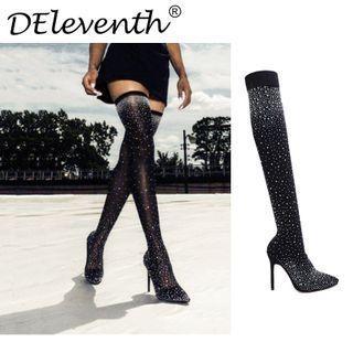 Rhinestone Stiletto Heel Over-the-knee Boots
