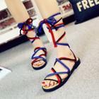 Color Block Lace-up Sandals