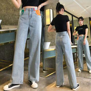 Wide-leg Colored Panel Jeans
