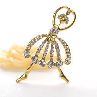 Ballet Dancer Brooch  Gold - One Size