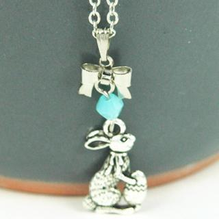 Silver Easter Bunny Necklace One Size