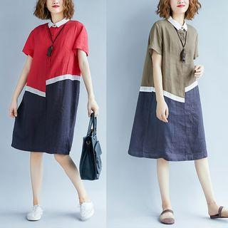 Short-sleeve Placket Two-tone Dress
