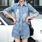 Washed Distressed Denim Coat