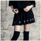 Cross Embroidered Pleated Mini Skirt Black - One Size