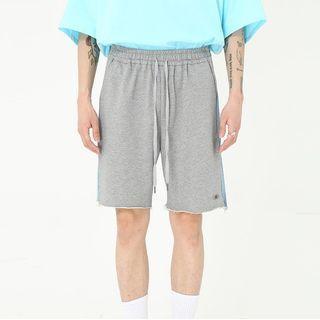 Drawstring Color Block Frayed Printed Shorts