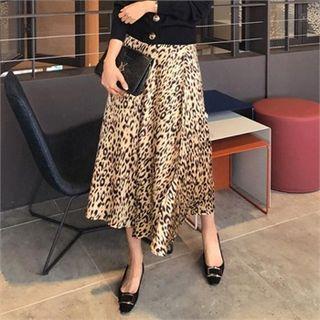 Leopard Satin Long Surplice-wrap Skirt