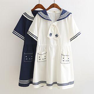 Cat Embroidered Sailor Collar Short Sleeve Dress