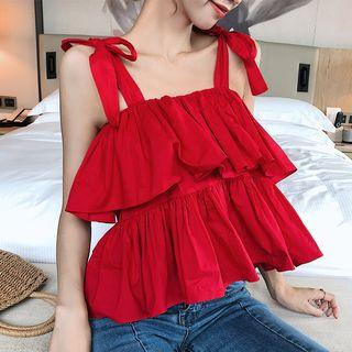 Ruffle Camisole Top Red - One Size