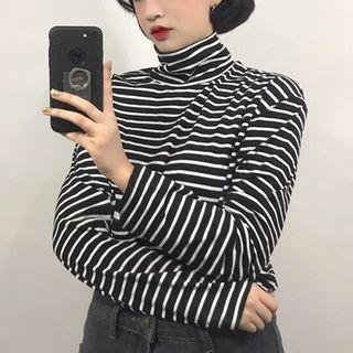 Mock Neck Striped Knit Top Stripe - One Size