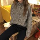 Stand Collar Gingham Shirt Plaid - Black & White - One Size