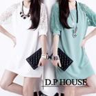 Elbow-sleeve Lace Panel A-line Dress
