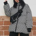 Plaid Hooded Padded Coat Check - Yellow - One Size