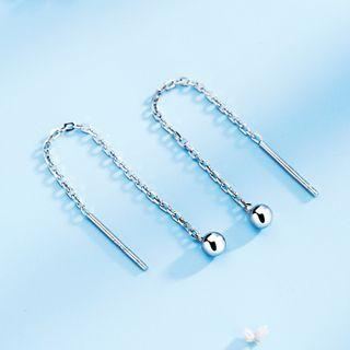 925 Sterling Silver Bead Dangle Earring 1 Pair - 925 Silver - White - One Size