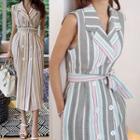 Sleeveless Striped Double-breasted Midi Dress
