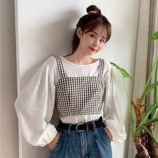 Set: Plain Puff-sleeve Blouse + Checked Camisole Top