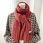 Plain Ribbed Knit Scarf