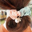 Faux Pearl Two-tone Fabric Hair Tie