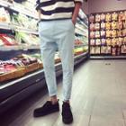 Plain Linen-blend Tapered Pants