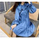 Denim Ruffle-hem Shirt Dress