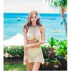 Set: Lace Halter Bikini + Swim Skirt