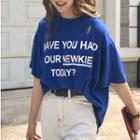 Elbow-sleeve Ripped Lettering Top