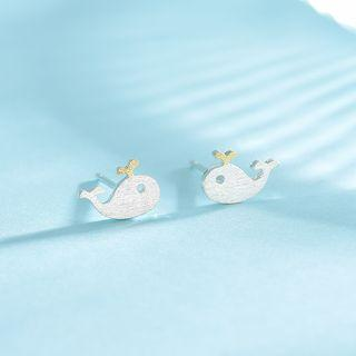 925 Sterling Silver Whale Earring 1 Pair - Earring - One Size